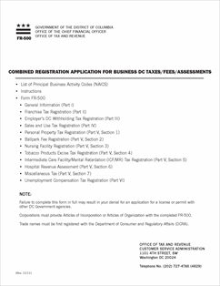 Form FR-500 Fillable Combined Business Tax Registration Application