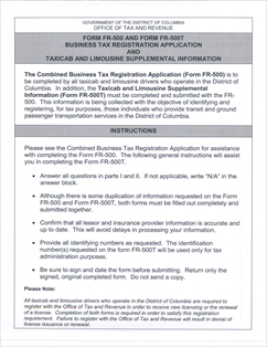 Form FR-500T Fillable Taxicab and Limousine Information Form