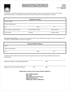 Form DR-841 Fillable Request for Copy of Tax Return R.03/11