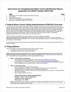 Form Mcs 150 Fillable Application For Federal Motor