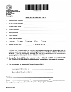 Order Form Fillable Ifta Motor Carrier Decal Reorder Form Only Rev 04 10