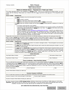 Form T-56 Fillable Total Loss Insurance Settlement Notice