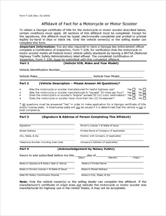 Form T-228 Fillable Motorcycle or Scooter Affidavit of Fact.