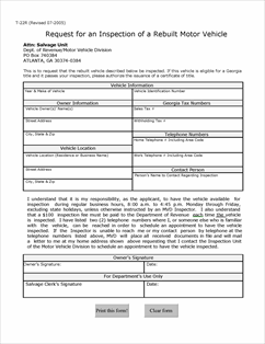 Form T 22r Fillable Rebuilt Motor Vehicle Inspection Request
