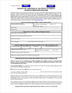 Form T-53 Fillable Notice of Additional Security Interest