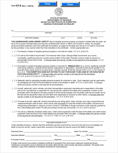 Form ST-5 Fillable ST-5 Certificate of Exemption (Rev. 11/12)