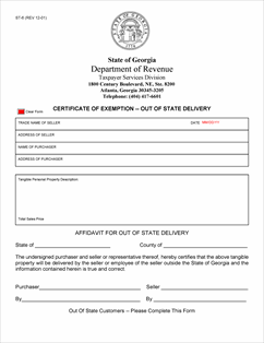 Form ST-6 Fillable Out of State Delivery Exemption Certificate ...