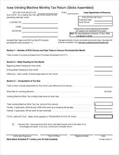 Form 70-099a Fillable Iowa Vending Machine Monthly Tax Return