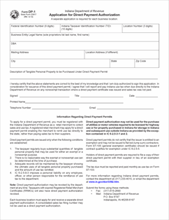 Form DP-1 Fillable Application for Direct Pay Authorization