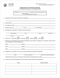 Form 700 fillable application for permanent authority for for Motor carrier permit status