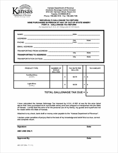 Form ABC-207 Fillable Individual's Gallonage Tax Return and ...