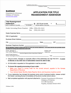Form TR-69 Fillable Application for Title Reassignment Addendum