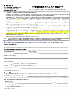 Form TR-81 Fillable Certification of Trust