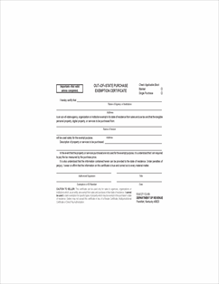 Form 51A127 Fillable Out-of-State Purchase Exemption Certificate