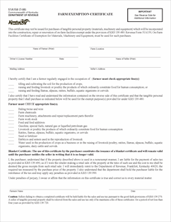 Form 51A158 Fillable Farm Exemption Certificate