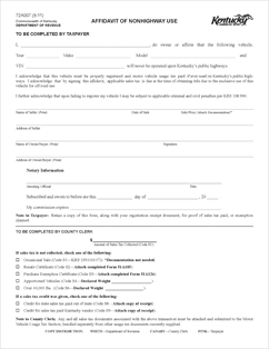 Form 72A007 Fillable Affidavit of Non-Highway Use