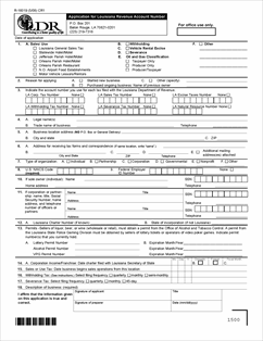 Form R-16019 Fillable Application for Louisiana Tax Number (CR-1)