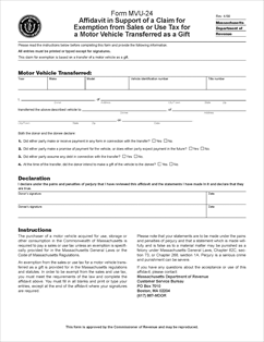 Form MVU-24 Fillable Affidavit in Support of a Claim for Exemption ...