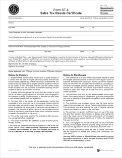 Form ST-4 Fillable Sales Tax Resale Certificate