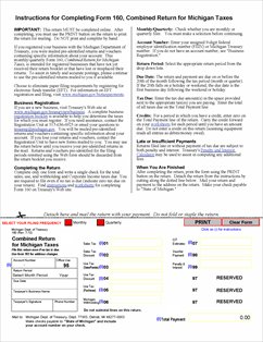 Form 160 Fillable Combined Return for Michigan Taxes