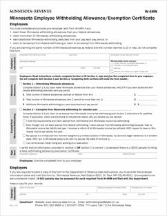 Form W-4MN Fillable Minnesota Employee Withholding Allowance ...