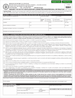 Form 5091 fillable request for motor vehicle driver for Driver license motor vehicle record
