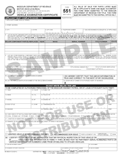 Form 551 Fillable Vehicle Examination Certificate