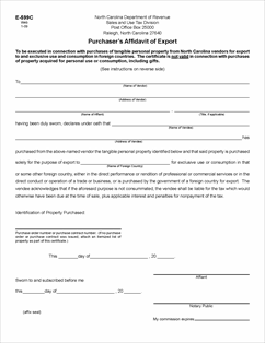 Form E-599C Fillable Purchaser's Affidavit of Export Certificate
