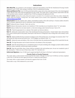 Form 521MH Fillable Manufactured Housing Transfer Statement (7/2013)