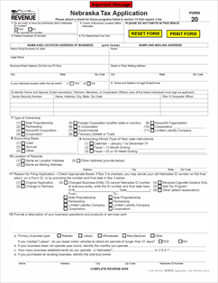 Form 20 Fillable Nebraska Tax Application, with Information Guide ...