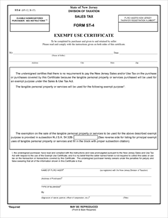 Form ST-4 Fillable Exempt Use Certificate