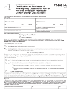 Form FT-1021-A Fillable Certification for Purchases of Non-Highway ...