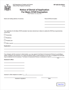 Form RP-425-Dnl-Basic Fillable Notice of Denial of Application for ...