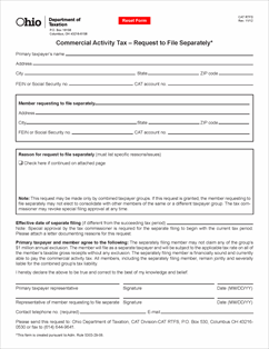 Form CAT RTFS Fillable Commercial Activity Tax -- Request to File ...