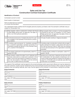 Form STEC CC Fillable Construction Contract Exemption Certificate