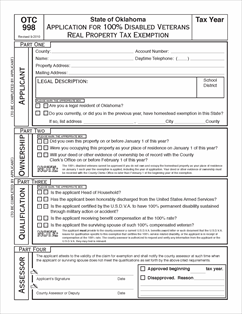 Form 998 Fillable Application for 100% Disabled Veterans ...