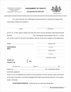 Form dba 06 fillable assignment of rights salesuse tax refund download form dba 06 view all pa pennsylvania sales use and other taxes ccuart Image collections