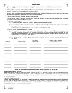 Form C-278 Fillable Account Closing Form