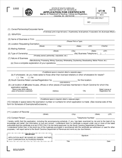 Form ST-10 Fillable Application for Certificate