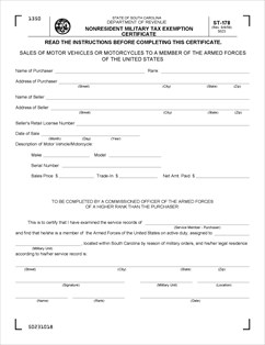Form ST-178 Fillable Nonresident Military Tax Exemption Certificate