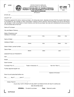 Form ST-299 Fillable Affidavit for Delivery of Tangible Personal ...