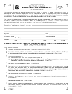Form ST-8F Fillable Agricultural Exemption Certificate