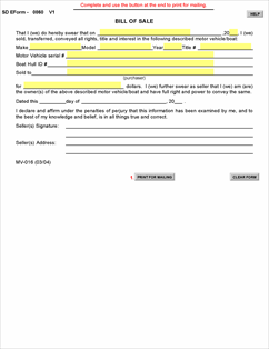 bill of sale form south dakota  Form MV-016 Fillable Bill of Sale Motor Vehicle or Boat
