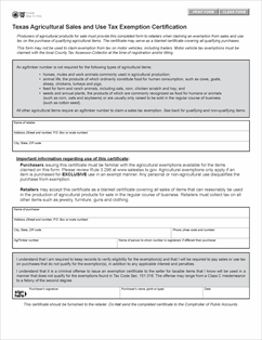 Form 01-924 Fillable Texas Agricultural Sales and Use Tax ...