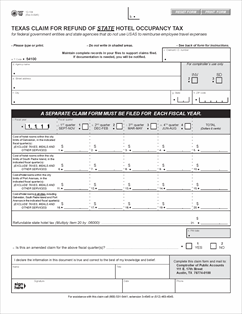 Form 12-104 Fillable Texas Claim for Refund of State Hotel ...