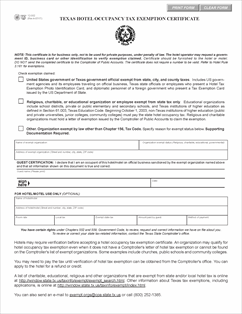 Form 12-302 Fillable Texas Hotel Occupancy Tax Exemption Certificate