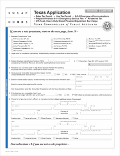 Form AP-201 Fillable Texas Application for Sales Tax Permit, Use ...