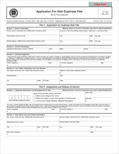 Form TC-123 Fillable Application For Utah Duplicate Title