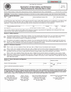 Form TC-810 Fillable Exemption of Utah Safety and Emission ...