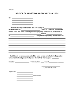 Form 5071.05 Fillable Notice of Personal Property Tax Lien